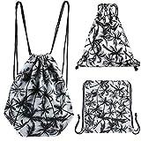CHIC DIARY Drawstring Backpack Gym Sack Bag Travel Canvas String Bag for Women/Girls (Palm pattern)