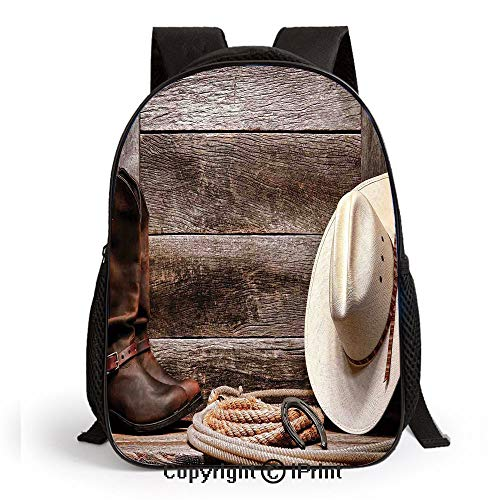 Kids School Backpack,American West Rodeo White Straw Cowboy Hat with Lariat Leather Boots on Rustic Barn Wood Nursery Room Decorations Classic,Plain Bookbag Travel Daypack,