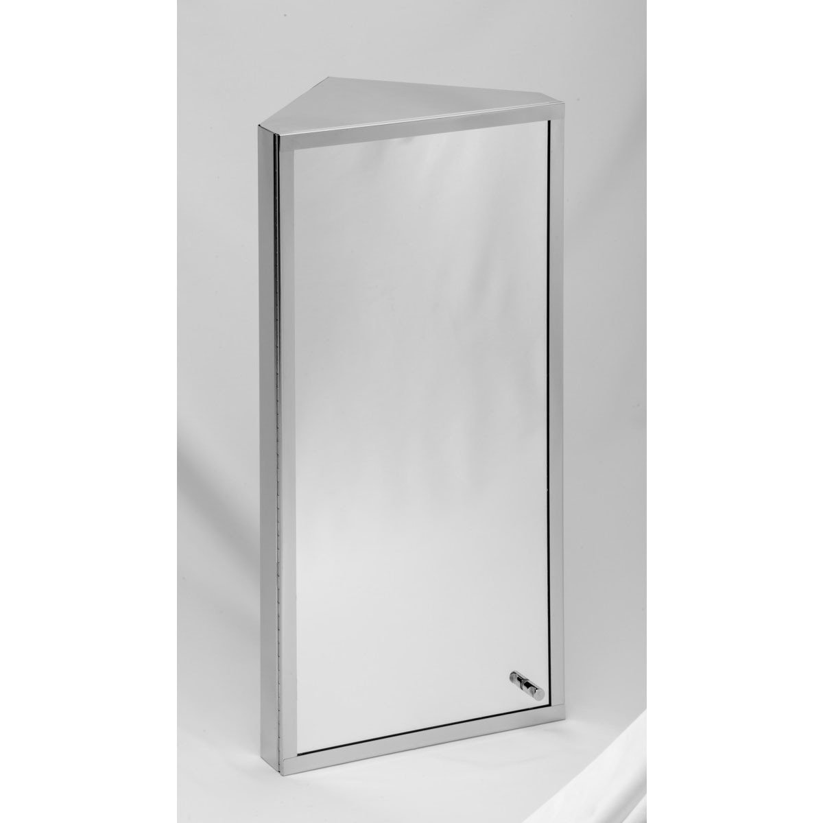 corner medicine cabinet polished stainless steel mirror door three shelves removable middle shelf