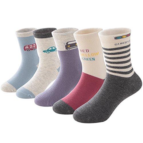 SUNBVE Little Boys Travel Fancy Soft Cotton Casual Socks 5 Pack