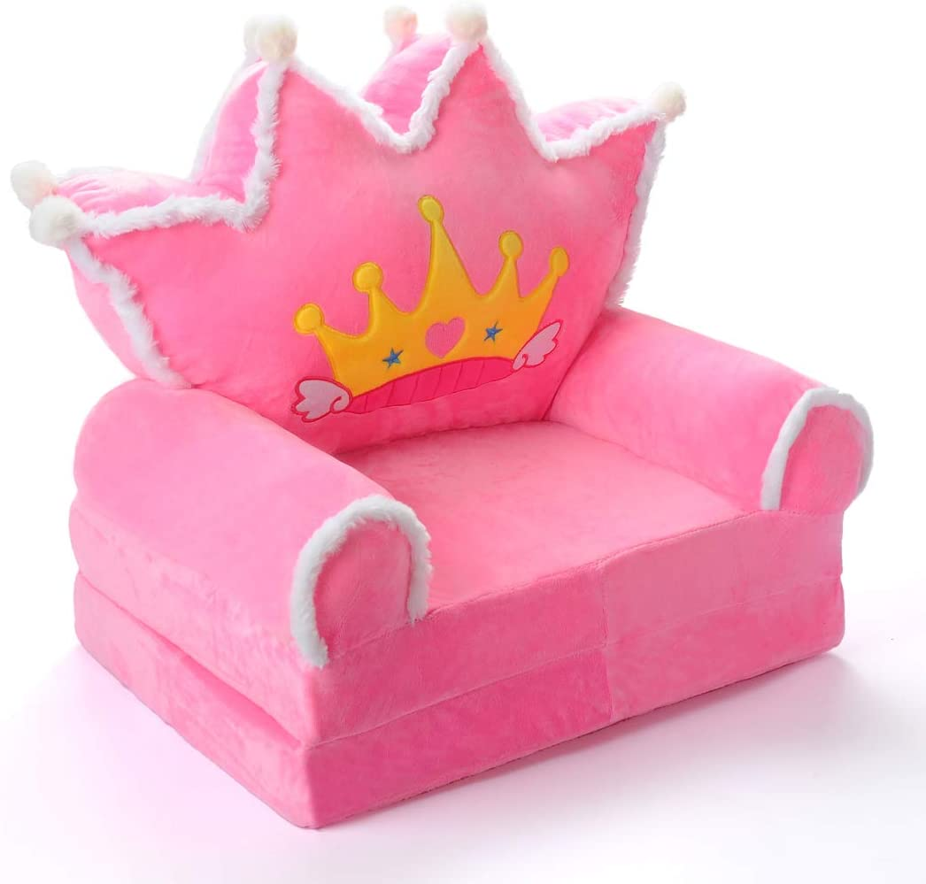 Kids-Couch-Folding-Toddler-Chair-Furniture-2-in-1 Flip-Open-Sofa-Bed-for-Living-Room-Bedroom-Kid-TV-Chair Floor Cushions for Baby Sleeper Foam Chair Recliner Seats Christmas Birthday (Pink)