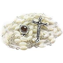Mother of Pearl Catholic Rosary Jerusalem Holy Soil Medal & Cross From Holy Land Nazareth Store Velvet Gift Bag