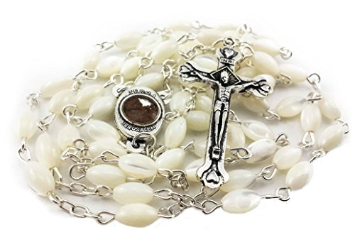 Nazareth Store Mother of Pearl Catholic Rosary Jerusalem Holy Soil Medal and Cross Holy Land Velvet Bag