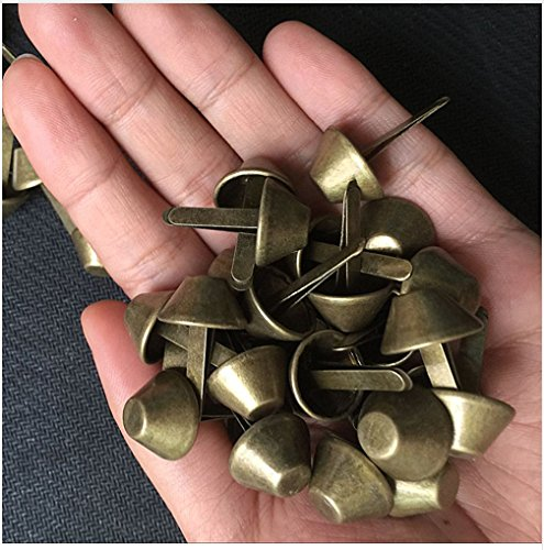 50pcs 14mm Antique Brass Purse Feet Studs Nailheads Spike DIY Bag Feet Bottom PF114