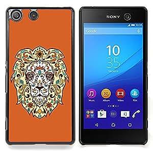 """Qstar Arte & diseño plástico duro Fundas Cover Cubre Hard Case Cover para Sony Xperia M5 E5603 E5606 E5653 (Impresionante fresca del león floral"""")"""