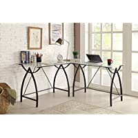 Metro Shop L-shaped Black Frosted Glass/ Metal Corner Desk-Corner Desk w/ Frosted Glass & Black Frame