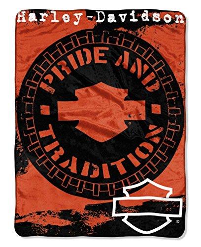 - Harley-Davidson Wheels Micro Raschel Throw Blanket, Black & Orange NW047099