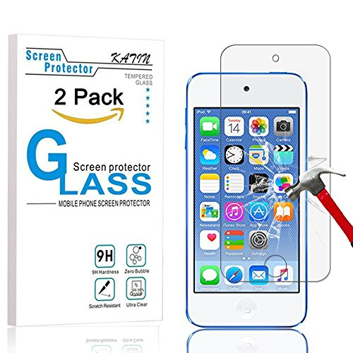 Ipod Touch Screen Cover (iPod Touch Screen Protector - KATIN [2-Pack] Apple iPod Touch 5th / 6th Generation Tempered Glass [0.2mm Ultra Thin 9H Hardness 2.5D Round Edge] with Lifetime Replacement Warranty)