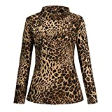 Zalanala Womens Leopard Print Turtle Roll Neck T