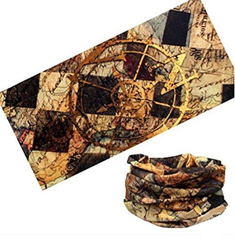 Kangkang@ Cycling Headband Thick Absorbent Head Wrap Face Shield Scarves (Nautical - Face Map