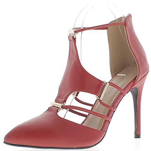 ChaussMoi Zapatos Rojos con Tacón Fino de Consejos DE 10.5 cm Sharp de Cuero con Cordones Abiertos
