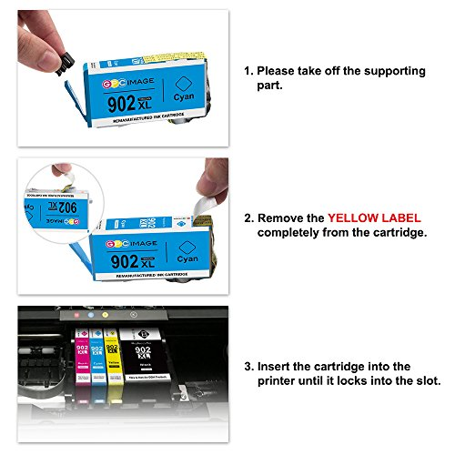 GPC Image 902XL 4 Pack Remanufactured Ink Cartridge Replace for HP 902XL 902 XL High Yield Work with HP OfficeJet Pro 6968 6978 6954 6978 6970 6975 6962 Printer (1 Black, 1 Cyan, 1 Magenta, 1 Yellow) Photo #6