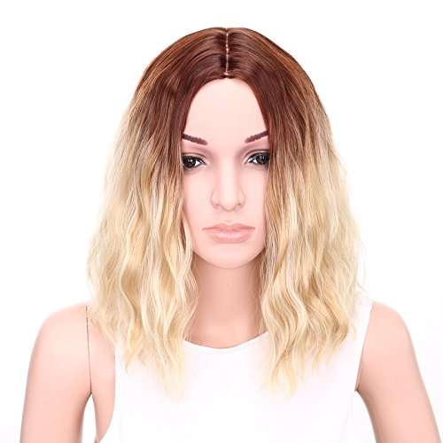 Cheap Bob Wigs (AISI HAIR Wavy Bob Wig Synthetic Short Wigs for Women Brown to Blonde Ombre Wig Middle Part Wig Heat Resistant Wig)