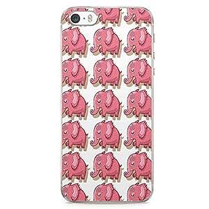 iPhone SE Transparent Edge Phone case Pink Phone Case Elephant Phone Case Animal Pattern iPhone SE Cover with Transparent Frame