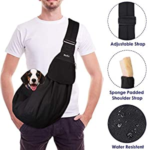 Slowton Pet Carrier, Hand Free Sling Adjustable Padded Strap Tote Bag Breathable Cotton Shoulder Bag Front Pocket Safety Belt Carrying Small Dog Cat Puppy Machine Washable 23