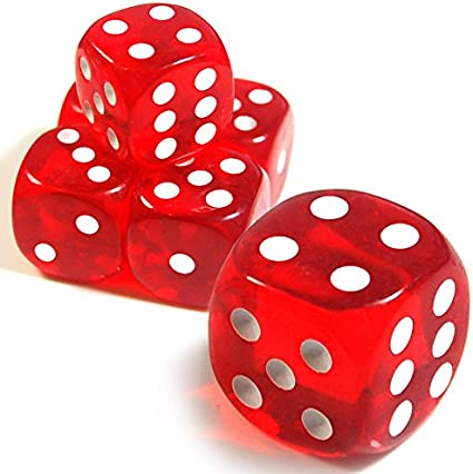 Set of 5 Red 19mm 6-Sided d6 Dice Felt-Lined Cup for Casino Table Board Games
