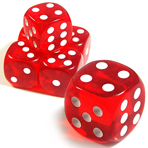 19mm D6 Six-Sided Gaming Transparent Casino Dice (Red Round, 5pcs)