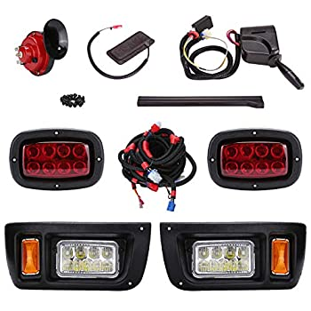 Image of 10L0L Golf Cart LED Headlight and Tail Light Kit for Club Car DS Carts with Turn Signals Switch Horn Brake Lights Harness(Must Input 12 Volts)