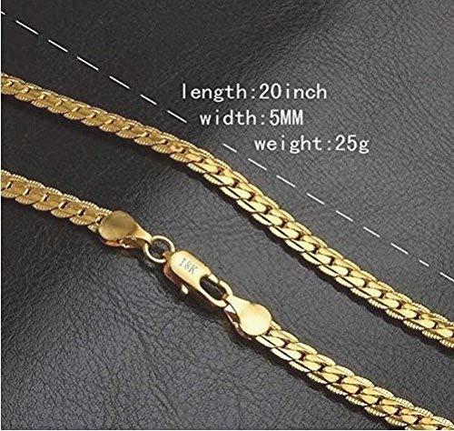 Moda 18K chapado en oro collar cadena planos de acero inoxidable mujeres hombres joyas