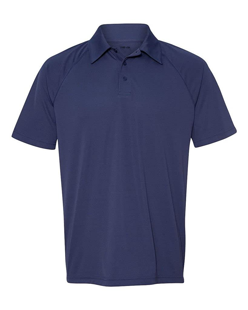 Joes USA Mens Moisture Wicking Short Sleeve Three-Button Raglan Polos in 11 Colors