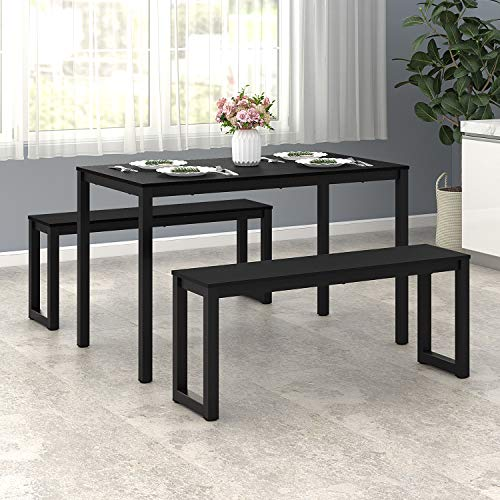 WLIVE Dining Table with 2 Benches / 3 Pieces Set, Dining Room Furniture with Steel Frame ()
