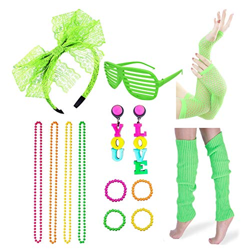 Icevog Womens 80s Costume Accessories Set Fancy Outfit for 1980s Disco Party Headband Gloves Leg Warmer Earrings Green -