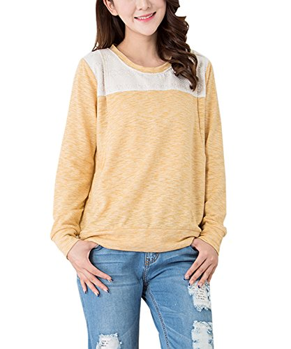 More4moms Cotton Nursing Sweatshirt Maternity Nursing Tops Cute Breastfeeding Shirts (Yellow, Medium) (Double Opening Nursing Cami)