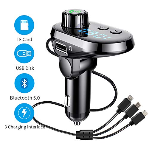 Bluetooth FM Transmitter Car Adapter, MANLI Car Charger MP3 Player, Bluetooth 5.0, with 3 Ports for iPhone, Android and Type C, 1 USB 5V/2.1A and TF Card Connection, Handsfree (Best Car Bluetooth For Iphone 5)