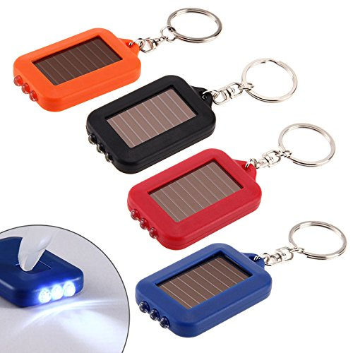 Ireav Solar Key Chain Flashlights 3 Mode LED Emergency Flash Light Camping Lamp Pocket Torch Backpack Light - - Keychain Power Solar