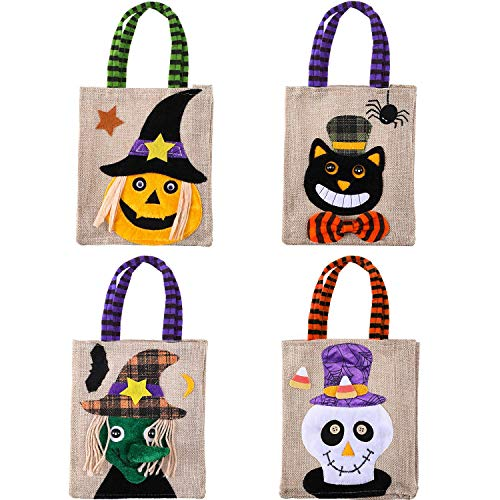 Halloween Pumpkin Cartoons (EMiEN 4 Pack Halloween Candy Tote Bags, Trick or Treat Holders for Kids Cartoon Pumpkin Goody Canvas Bag for Children Halloween Themed Party Favor Gift Decoration)