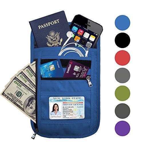 - OMYSTYLE FASHION RFID Blocking Passport Holder, Travel Wallet, Neck Pouch, Blue