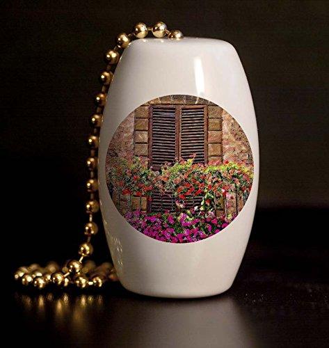 Tuscan Window Porcelain Fan / Light Pull