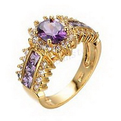 jacob alex ring Size 6 Oval Cut Purple Amethyst Ring 10KT Yellow Gold Filled Wedding Jewelry (Case Gold Filled)