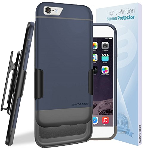 Compatible Combo (Encased Ultra Slim Combo Compatible to iPhone 6S CASE & Clip Soft-Touch Slider Shell + Belt Clip Holster (Includes HD Screen Guard) (Blue/Gray))