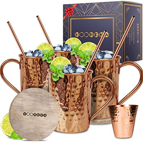 Moscow Mule Copper Mugs Set :4 16 oz. Solid Genuine Copper Mugs : Cylindrical Shape : Handmade in India, 4 Straws, 4 Wood Coasters, Shot Glass : Comes in Elegant Gift Box, by Yooreka