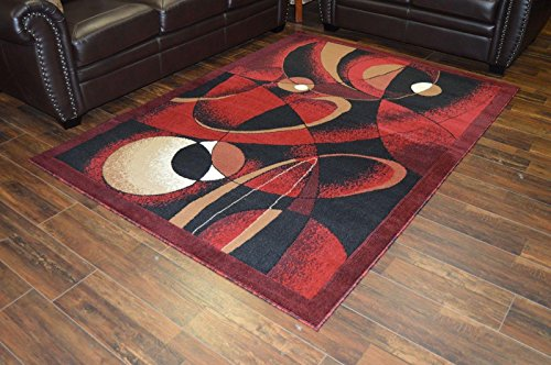 RIMA Modern Contemporary Abstract 5'X7' Rug 2430 Burgundy by ArtistryRugs