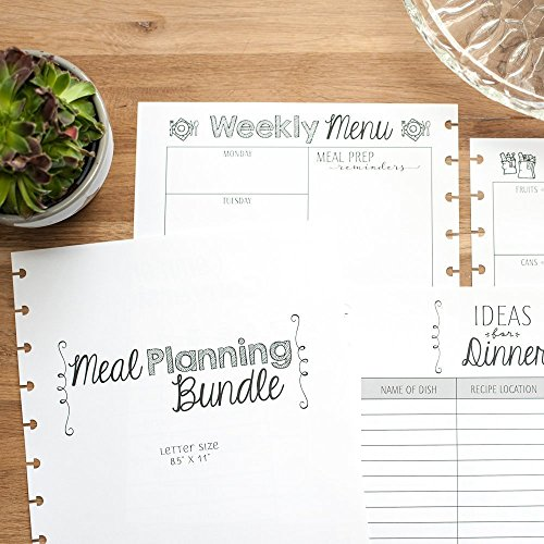 Meal Planning Bundle for Disc Bound Planners, Letter Size, 6 Month Supply, 8.5''x11'' by Natalie Rebecca Design
