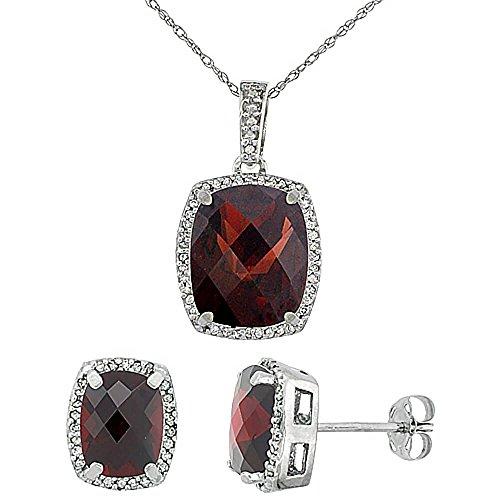 Or blanc 9carats Diamant naturel octogone Grenat Boucles d'oreilles et pendentif de coussin Accents