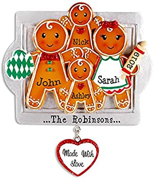 Gingerbread Girl or Boy Personalised Wood Christmas Bauble Set Fun to Make