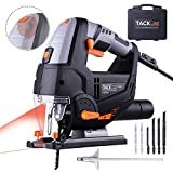 Jig Saw,Tacklife 6.7 Amp 3000 SPM Laser Jig Saw, with LED Light, Max Bevel Cutting Angle (-45°-45°), Variable Speed Dial (1-6) , Pure Copper Motor,6pcs Jigsaw Blades, Metal Guide Ruler, Includes Carrying Case | PJS02A