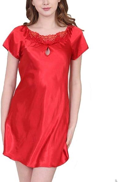 Pijama De Satén para Mujer Camisa De Dormir para Mujer Camisón Corto Basic Kimono Básico Camisa