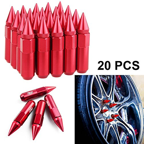 Wheel Rim Screws - 20 Pieces RED Aluminum Spike Tuner Extended Lug Nuts Tire Screw for Wheels Rims M12 X 1.5 90mm