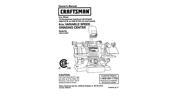 Enjoyable Craftsman 152 211521 Bench Grinder Owners Instruction Manual Alphanode Cool Chair Designs And Ideas Alphanodeonline