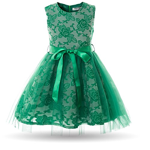 Cielarko Girls Dress children Tulle Birthday Party Prom Dresses For 2-9 Years (3-4 Years, Green)
