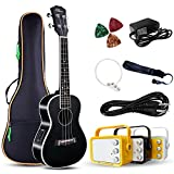 Electric Concert Ukulele With Amp | 23'' Acoustic-Electric Ukulele Beginner Kit | This Electric Ukulele Kit Includes Everything Needed For A Beginner Ukulele Learner | Crafted From Spruce Mahogany