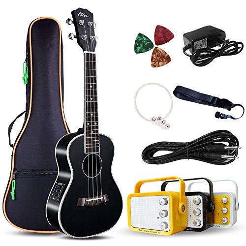 Electric Concert Ukulele With Amp | 23'' Acoustic-Electric Ukulele Beginner Kit | This Electric Ukulele Kit Includes Everything Needed For A Beginner Ukulele Learner | Crafted From Spruce Mahogany by Ellen