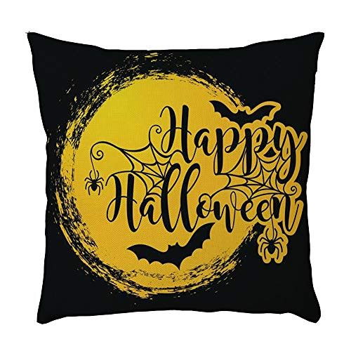 Halloween Decorations Throw Pillows Case, Square Cushion Covers, 18'' X 18'' Premium Canvas Fabric Decorative Pillowcase