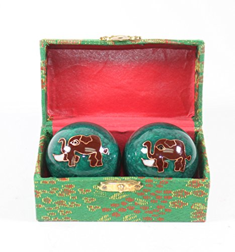 Large Green Elephant Cloisonne Iron Balls Hand Stress Relief Set EXERCISE Finger Health Therapy US Seller