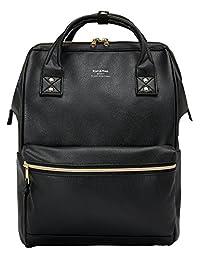 KAH&Kee Leather Travel Notebook Backpack Laptop School Diaper Bag for Women Man (Black)