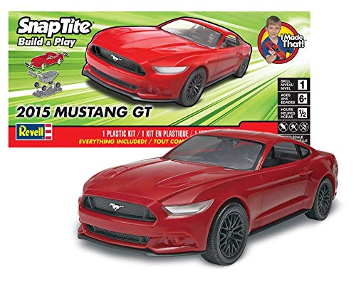 Revell SNAPTITE Build + Play 2015 Mustang GT Model Kit, Red (Kits Snap Model Together)